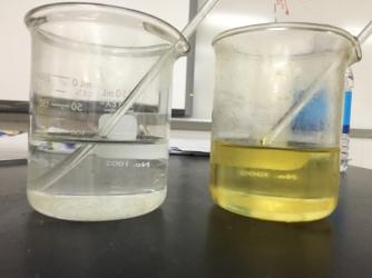 Stirring rod in water vs. vegetable oil